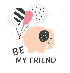 hand drawn elephant with balloons vector image