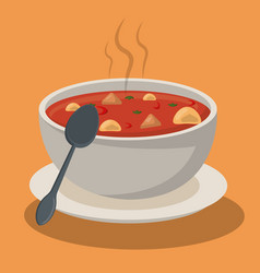 hot soup pasta vegetables bowl dish spoon vector image