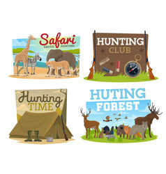 Hunting club and safari hunt adventure vector