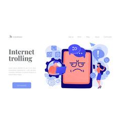 Internet trolling concept landing page vector