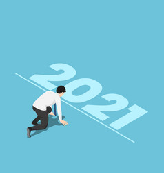 Isometric businessman in starting position and vector