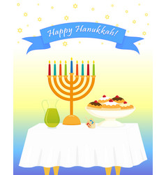 jewish holiday of hanukkah hanukkah menora vector image