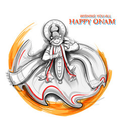Kathakali dancer on background for happy onam vector