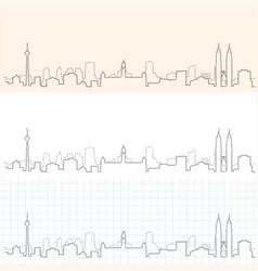 Kuala lumpur hand drawn skyline vector