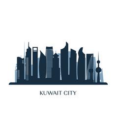 Kuwait city skyline monochrome silhouette vector