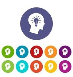 Light bulb inside head set icons vector