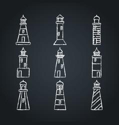 lighthouse icon sketches set on chalkboard in line vector image