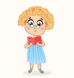 little cartoon girl reading a book vector image