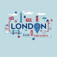 London icons and typography design vector