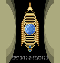 luxurious art deco jewel earring with blue gems vector image
