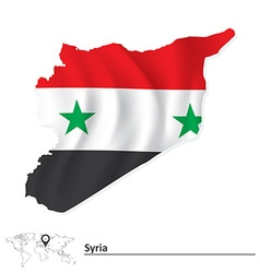 Map of Syria with flag vector image vector image