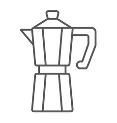 Moka pot thin line icon coffee and cafe vector
