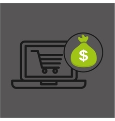 Money bag e-commerce buy market icon vector