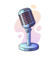 Monochrome retro microphone for voice music vector