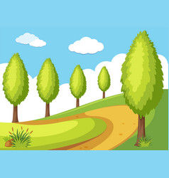 nature scene with trees and road vector image