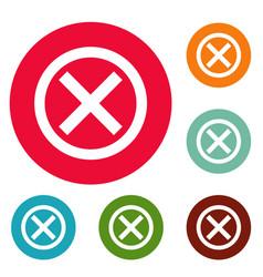 no sign icons circle set vector image