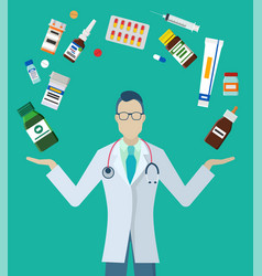 Pills and bottles around pharmacist or doctor vector