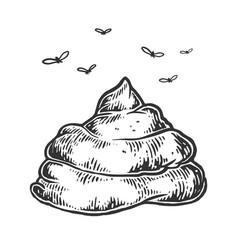 Poop with flies sketch engraving vector