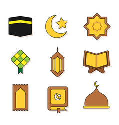 Ramadhan icon colored outline vector