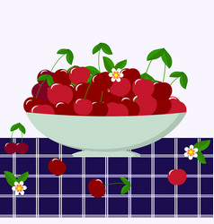 red cherry in a plate vector image