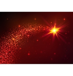 Red star with dust tail on dark background vector