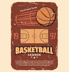 Retro basketball league old shabby poster vector