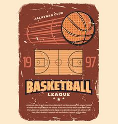 Retro basketball league old shabby poster vector
