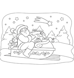 Santa Claus with sack in sled vector image