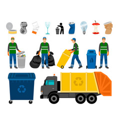 Scavengery trash and garbage colored icons trash vector