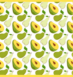Seamless wrapping paper with avocado mango pear vector