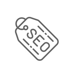 seo tag offering for customers label line icon vector image