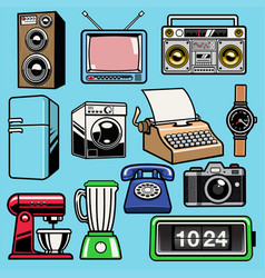Set object retro home electronic vector