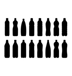 set of silhouettes of water bottles vector image