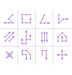 Set of violet segmented arrow with circle vector