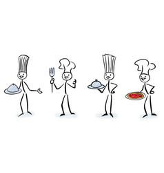 set stick figure chefs vector image
