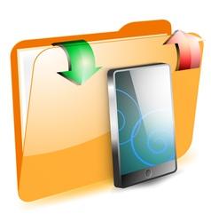 Share smartphone on folder vector image