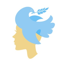 Silhouette of female head with dove vector