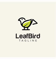 simple bird leaf logo nature design line art stock vector image