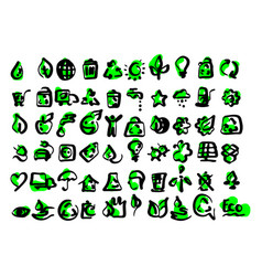 simple set of ecology icons sketch vector image