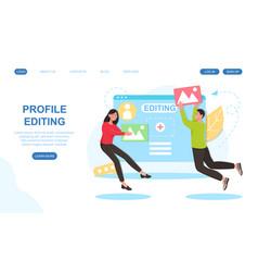 social media application profile editing concept vector image