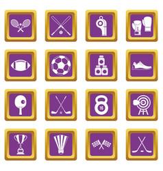 sport equipment icons set purple vector image