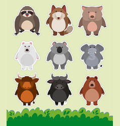 Sticker design with cute animals on grass vector