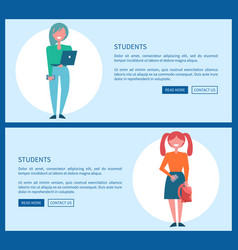 student girls set of poster push buttons read more vector image
