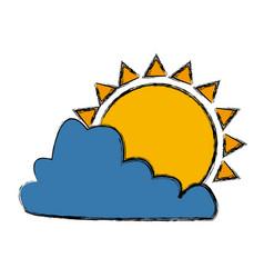sun and cloud symbol vector image