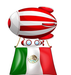 The flag of Mexico attached to a floating balloon vector