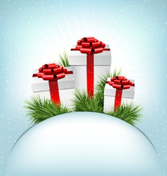 Three grayscale gift boxes with red bows pine vector image