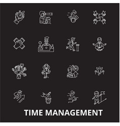 time management editable line icons set on vector image