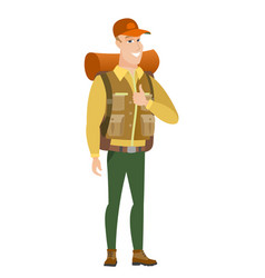 Traveler giving thumb up vector