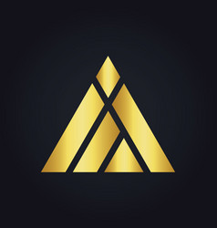 Triangle construction abstract shape gold logo vector