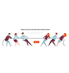 Tug war banner cartoon diverse people pulling the vector